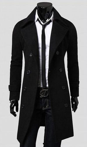 Premium Double Breasted Wool Trench Coat