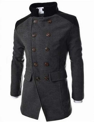 Premium Double Breasted Wool Blend Peacoat