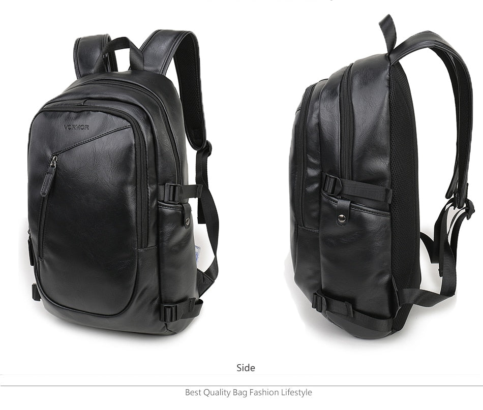 Leather Waterproof Laptop Backpack