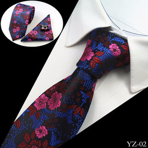 Premium Jacquard Silk Necktie/Pocket Square/Cufflinks Set - 10 Colors