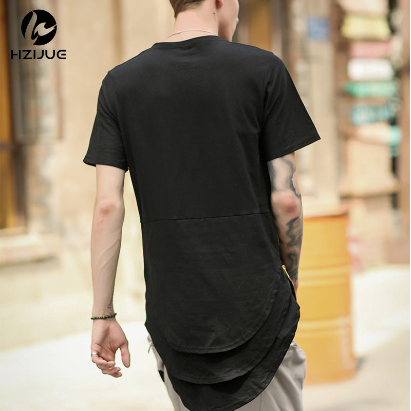 Arc Cut Long T-Shirt with Side Zipper - 3 Colors