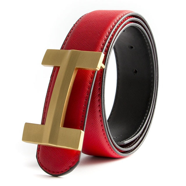 Luxury Solid Brass H Buckle Leather Belt