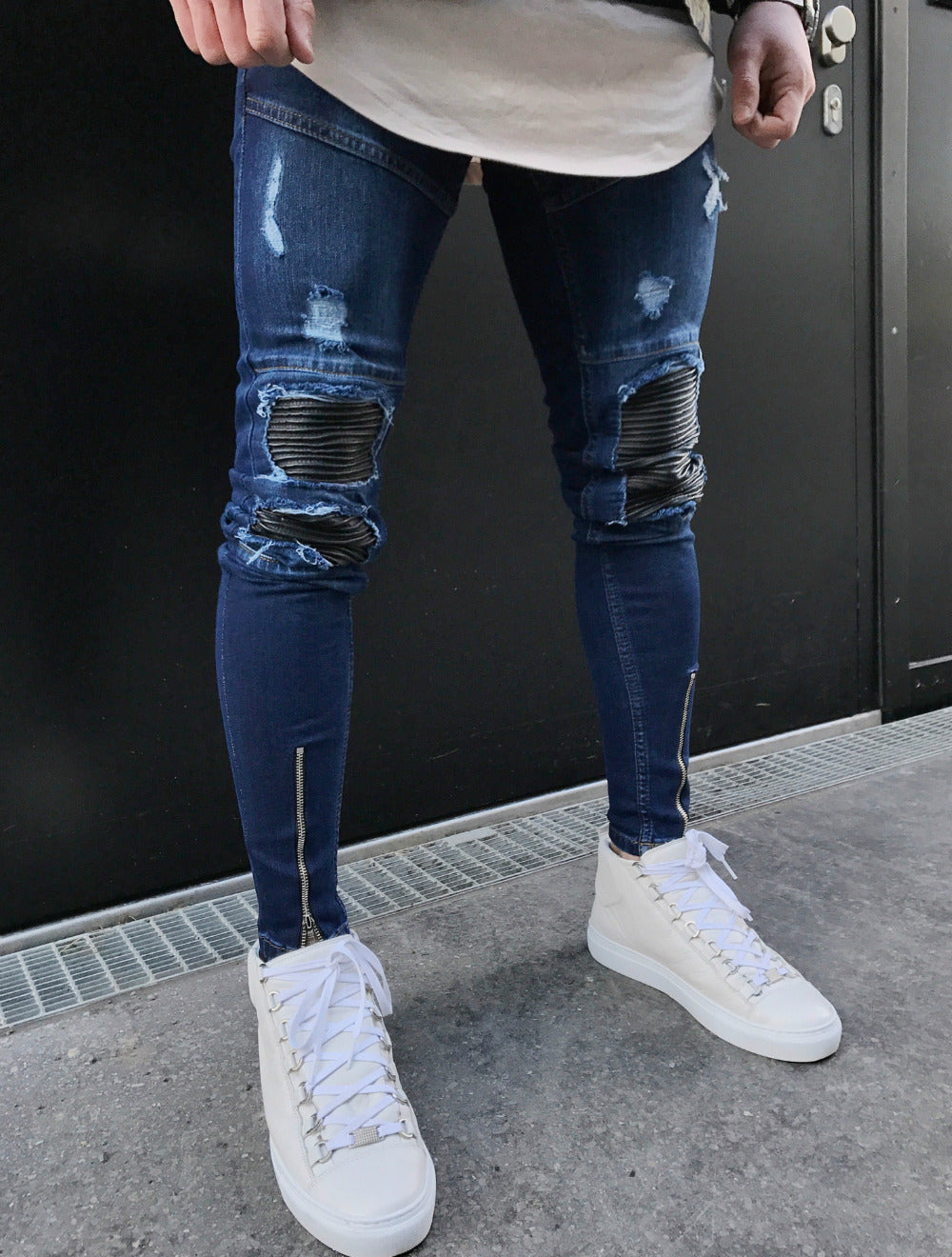 Premium Distressed Skinny Ripped Ankle Zipper Jeans