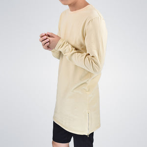Longline Long Sleeve T-Shirt With Side Zippers - 2 Colors