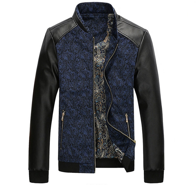 Premium Patchwork Leather Slim Fit Jacket