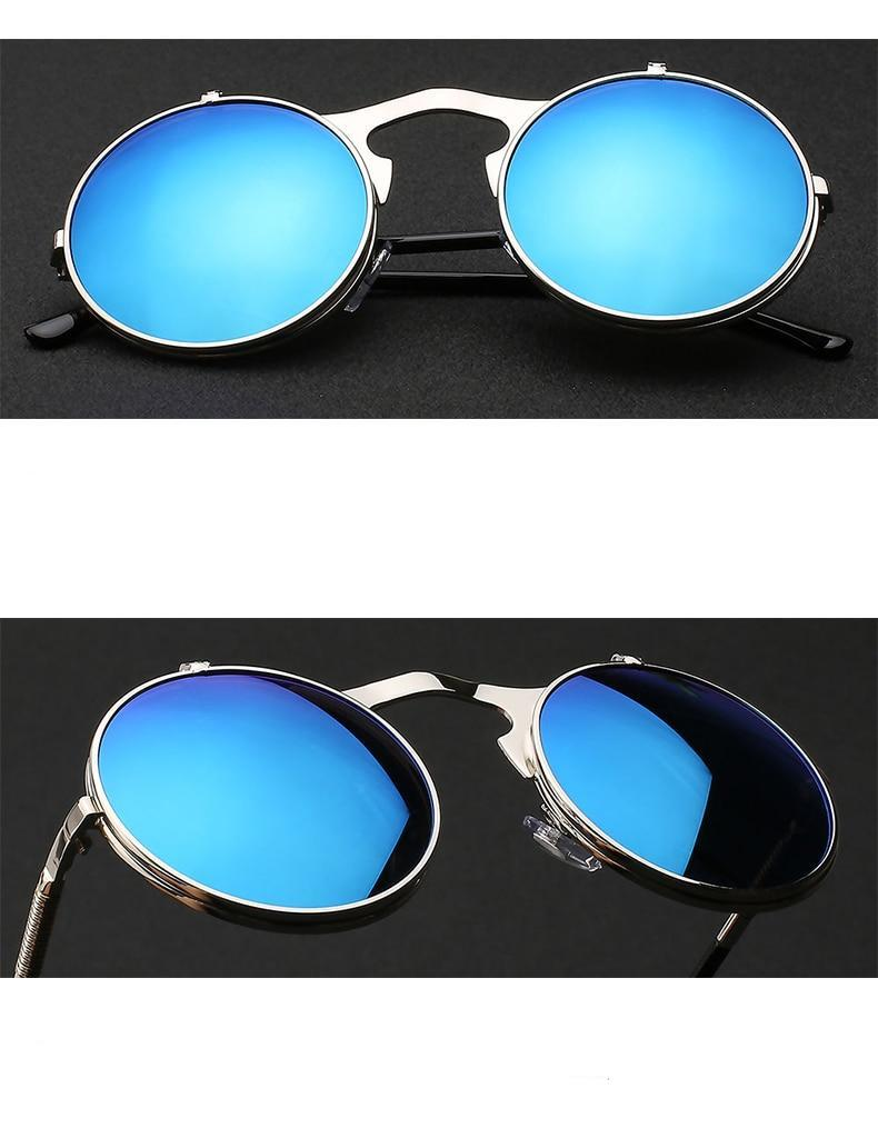 1842 Vintage Flip Up Round Sunglasses