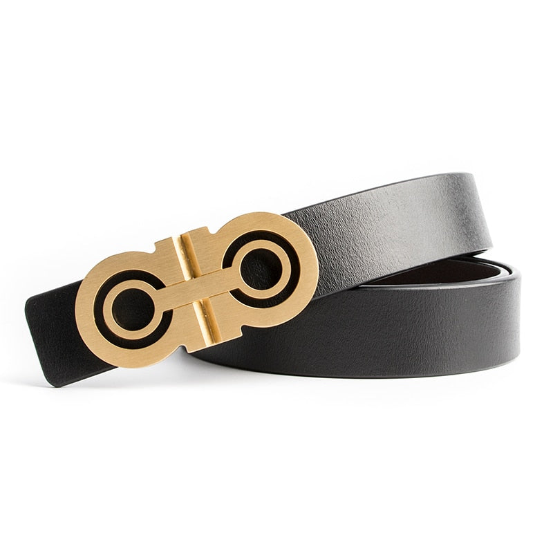 Capitano Luxury Solid Brass Leather Belt