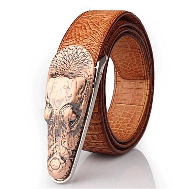 Luxury Metal Crocodile Buckle Leather Belt