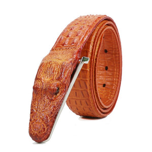 Luxury Crocodile Buckle Leather Belt