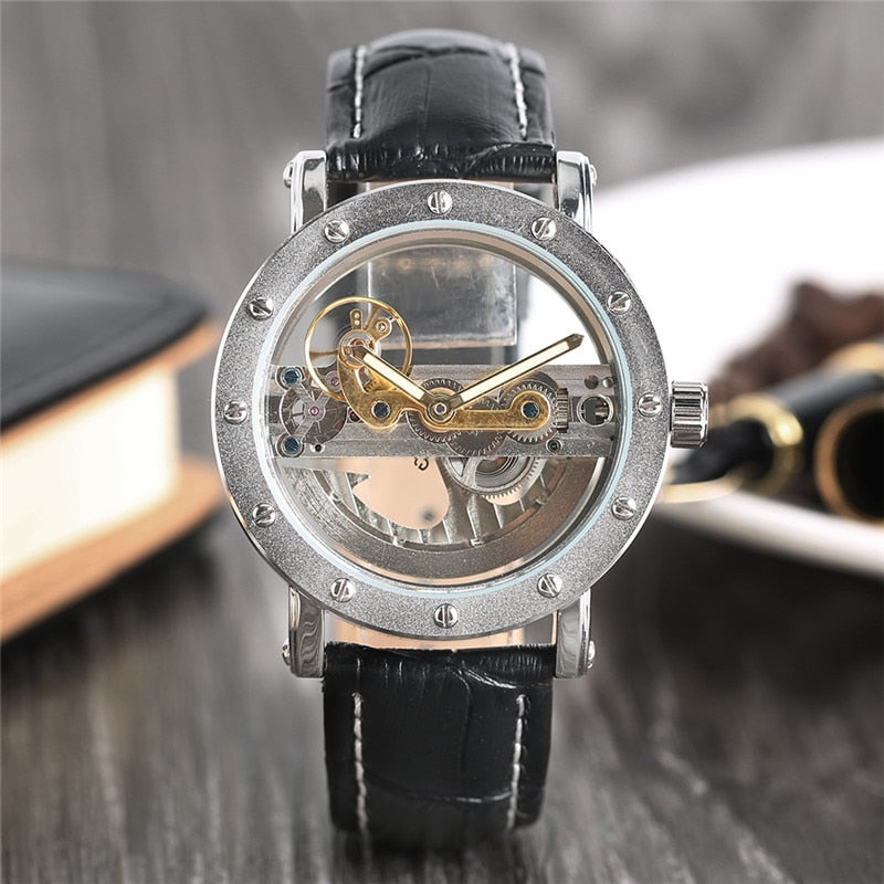 Luxury Hollow Automatic Leather Watch
