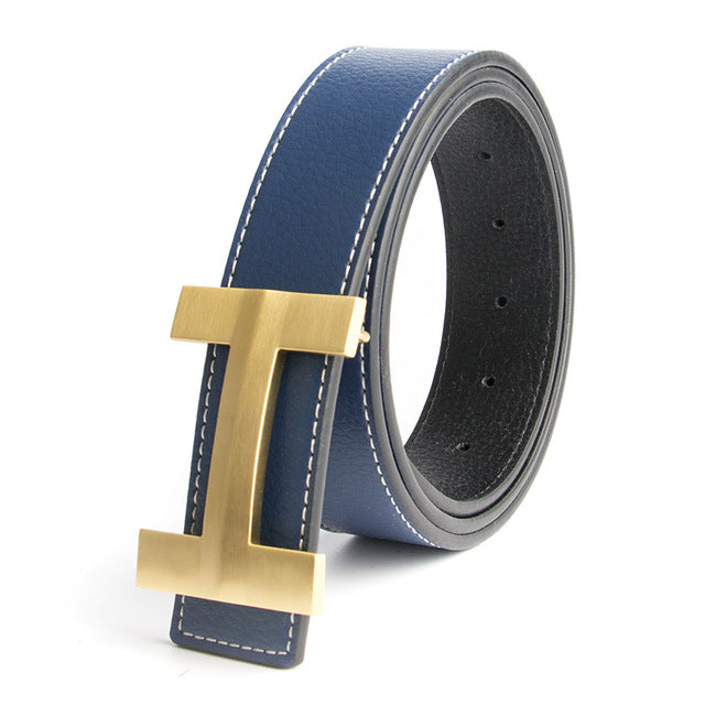 Premio Solid Brass H Leather Belt