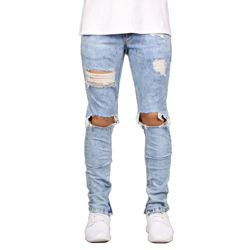 Ripped Ankle Zipper Skinny Stretch Jeans - 2 Colors