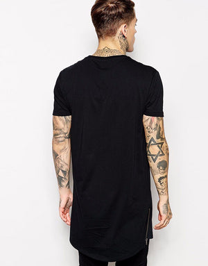 Premium Cotton Long T-Shirt with Side Zipper