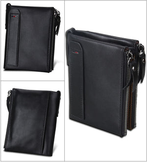 Genuine Leather Zipper Wallet - 5 Colors