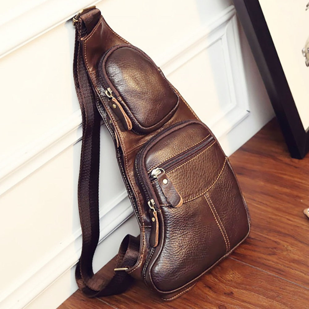Vintage Genuine Leather Sling Chest Bag