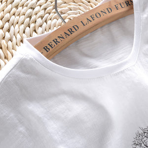Luxury Linen Embroidered Tree T-Shirt