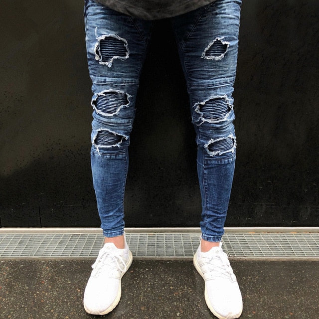 Blue Skinny Pleated Knee Ripped Jeans