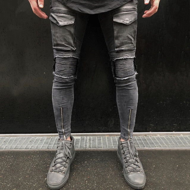 Faded Grey Skinny Ankle Zipper Jeans