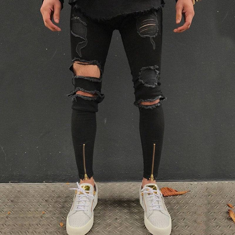 Black Skinny Ripped Ankle Zipper Jeans
