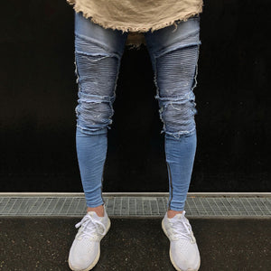 Light Blue Skinny Ripped Ankle Tight Jeans