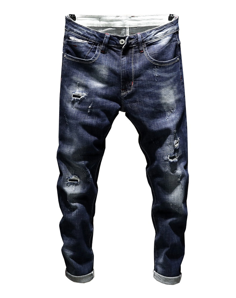 Destroyed Ripped Ankle-Length Tapered Jeans - Dark Blue