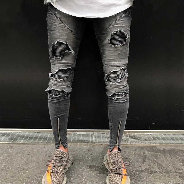 Burnt Grey Ripped Skinny Ankle Zipper Jeans