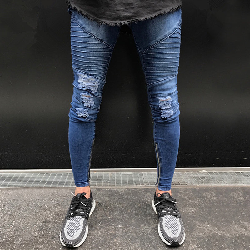 Blue Skinny Ripped Ankle Zipper Jeans