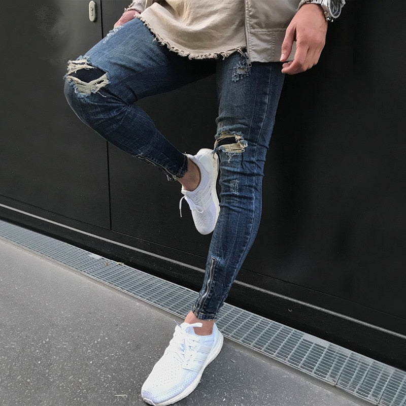 Dark Blue Skinny Ripped Ankle Zipper Jeans