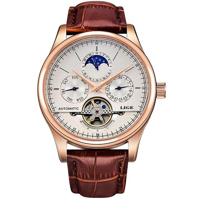 Luxury Tourbillon Automatic Leather Watch