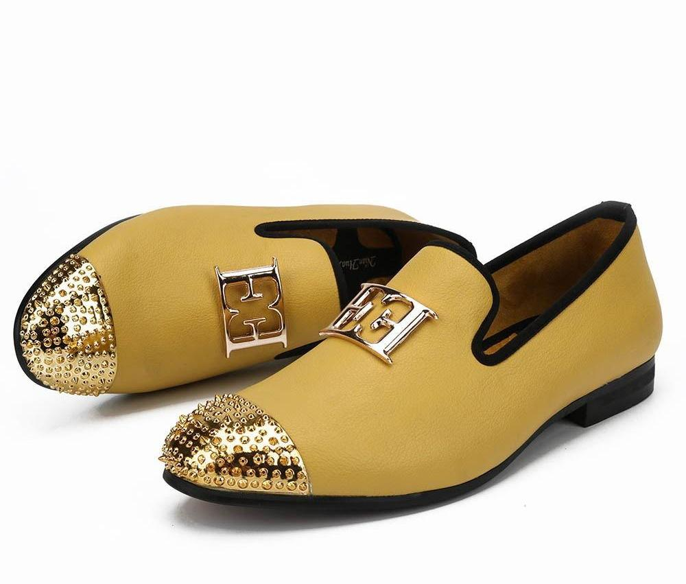 Luxury Handcrafted Gold Metal Toe Loafers