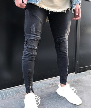 Skinny Stretch Faded Black Ankle Zipper Jeans