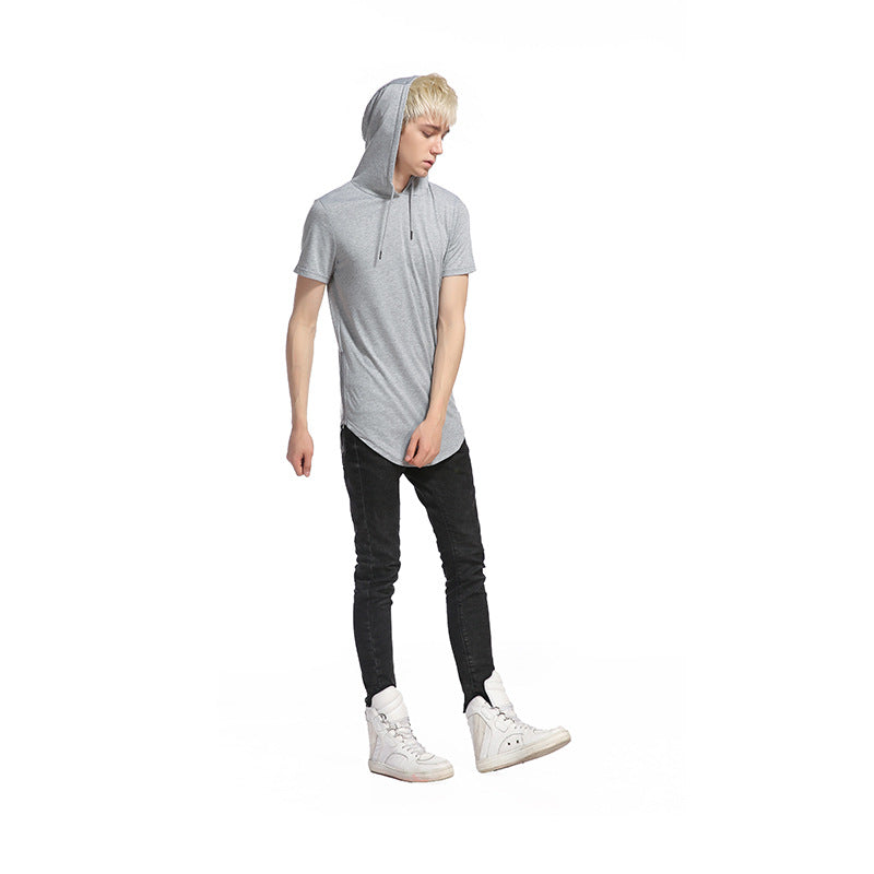 Longline Slim-Fit Side Zipper Hooded T Shirt - 8 Colors