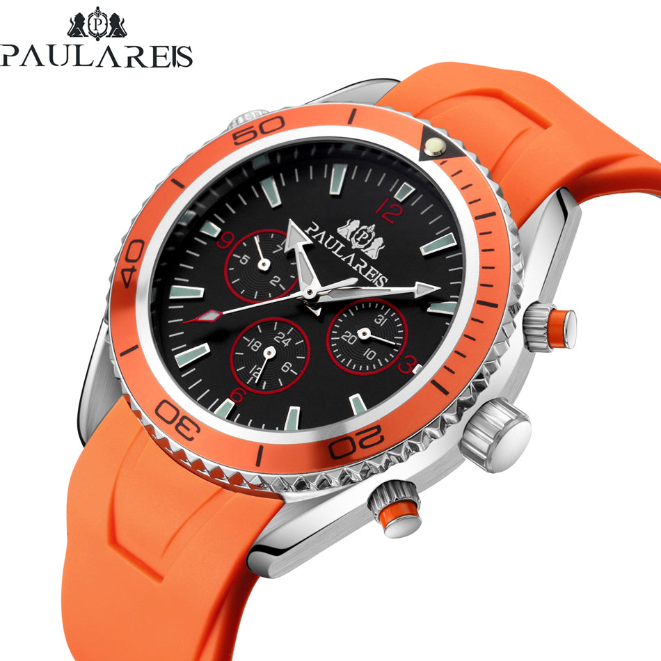 Luxury Automatic Self Wind Rubber Strap Watch