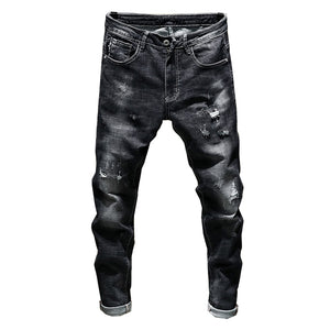 Distressed Ripped Skinny Tapered Jeans - Black