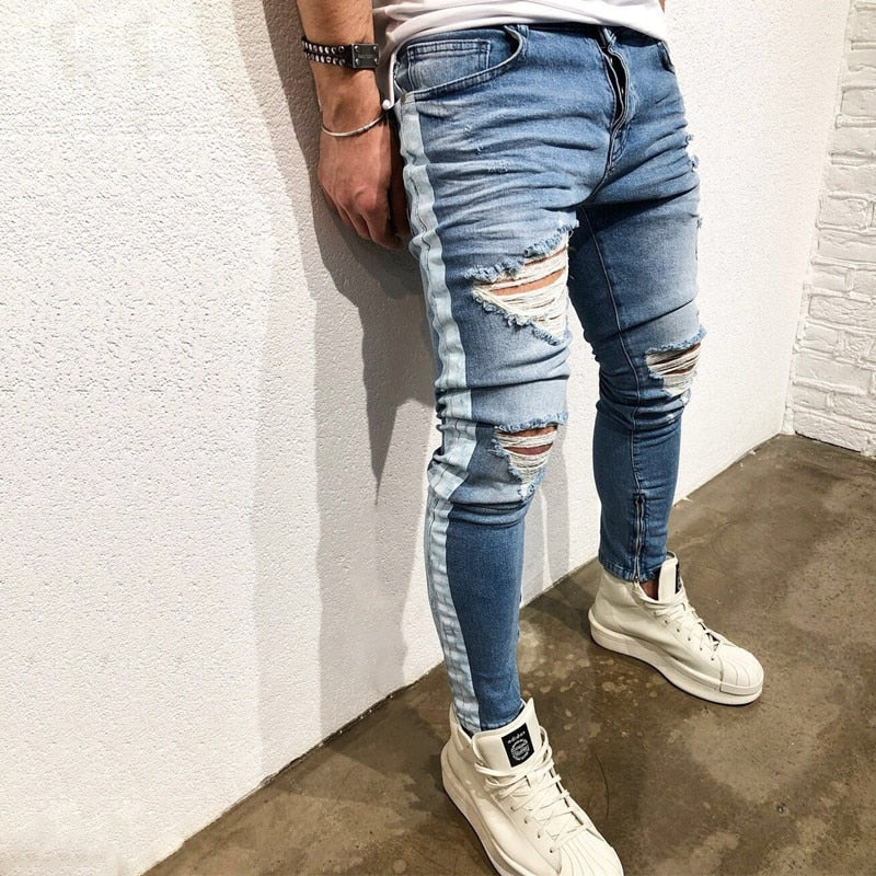 Destroyed Knee Ripped Side Stripe/Zipper Skinny Jeans