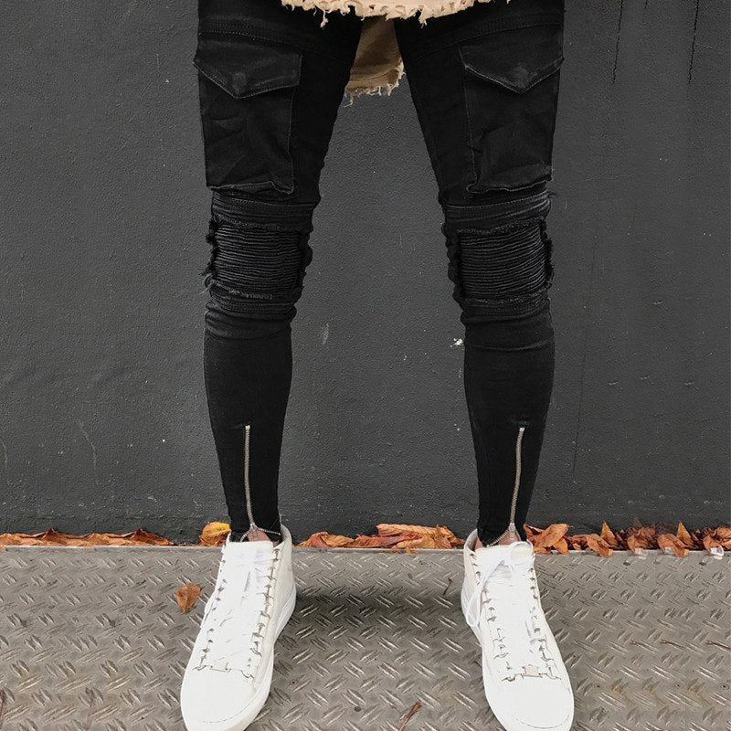 Black Skinny Pocket Detail Ankle Zipper Jeans