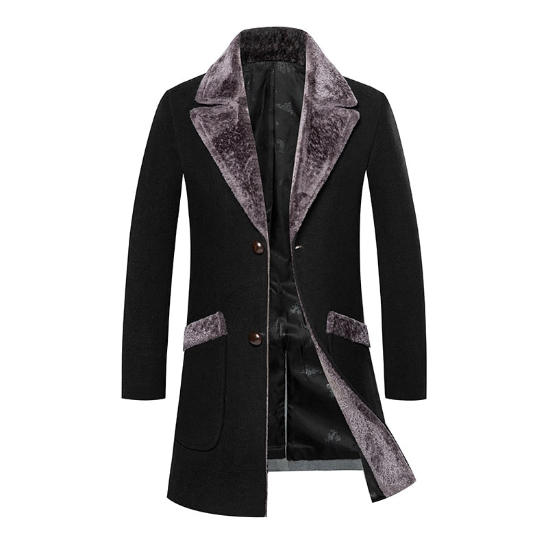 Luxury Woollen Fur Collar Long Coat