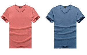 Luxury Pure Cotton V-neck Slim Fit T-Shirt - 7 Colors