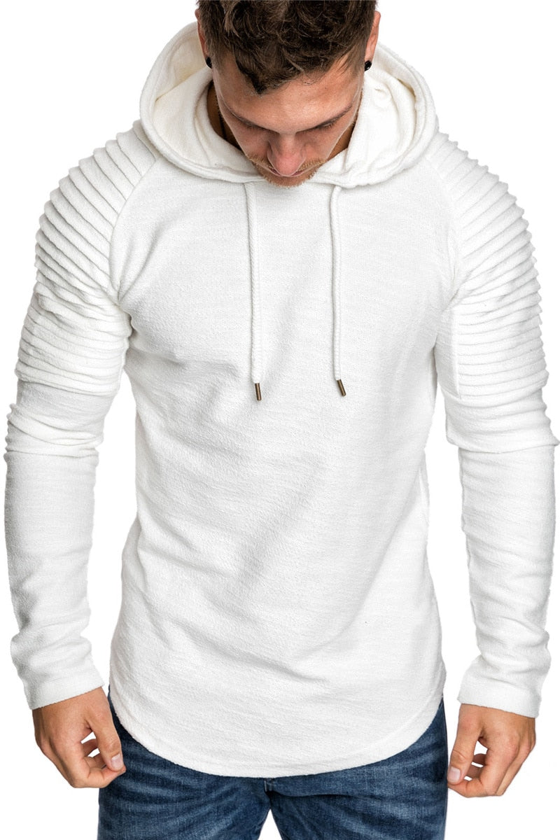 Premium Pleated Sleeve Long Fleece Hoodie