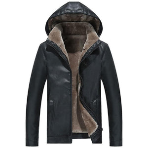 Hooded Fur Lined Leather Jacket