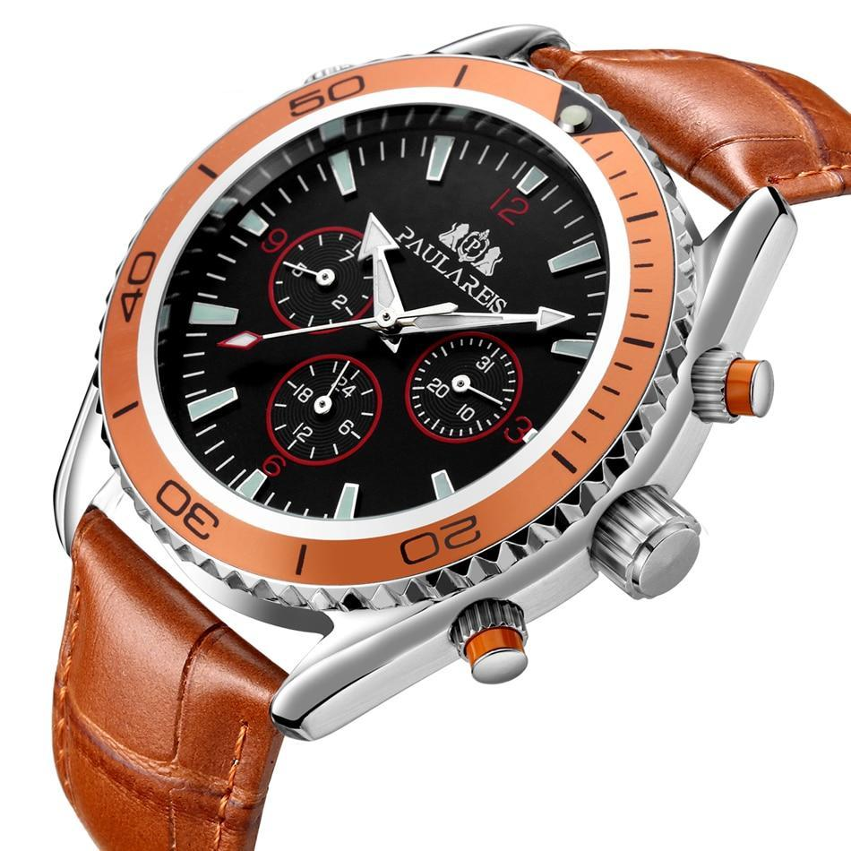 Luxury Automatic Bond Chrono Watch - Leather Strap