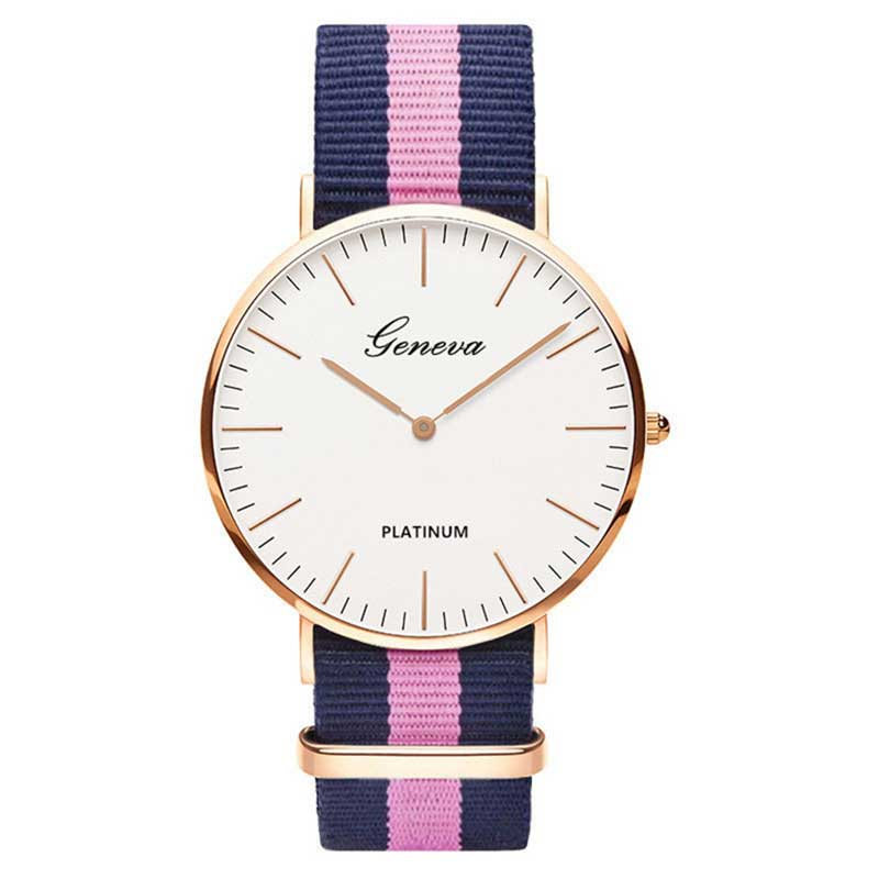 Luxury Geneva Platinum Nylon Strap Watch