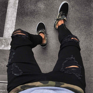 Black Knee Ripped Distressed Ankle Zipper Jeans