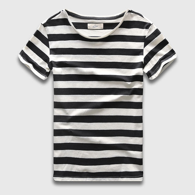 Slim Fit Striped Cotton T-Shirt - 6 Colors