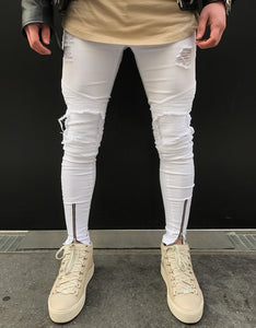 Premium White Ripped Skinny Ankle Zipper Jeans
