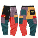 Vintage Color Block Corduroy Harem Pants