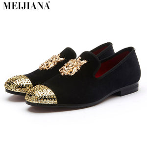 Luxury Handmade Rivet Metal Toe Leather Moccasins - 2 Colors