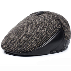 Retro Plaided Leather Newsboy Beret Hat