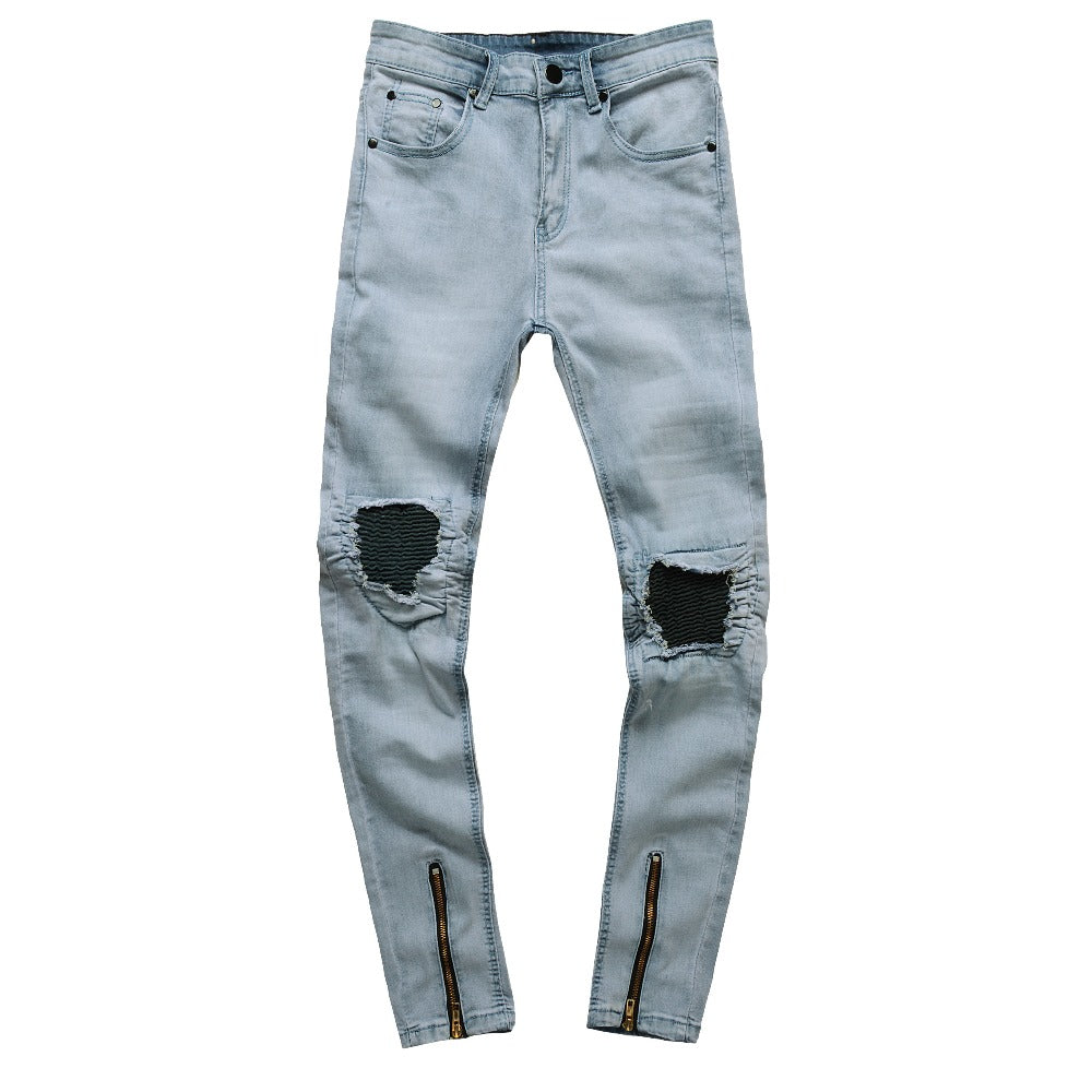 Light Blue Acid Wash Skinny Ripped Ankle Zipper Jeans