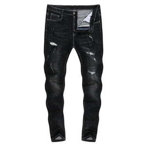 Vintage Distressed Ripped Skinny Tapered Jeans - Black
